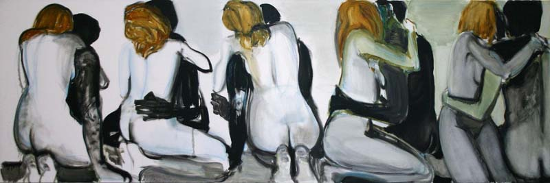 MARLENE DUMAS Couples 1994 Oil on canvas 39 x 118 inches 100 x 300 cm Zwirner & Wirth  32 E 69 St New York NY 10021